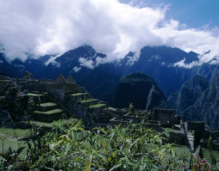 Machu Picchu, Peru with Andes Mountains