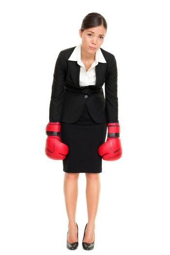 Defeated loser woman - business concept