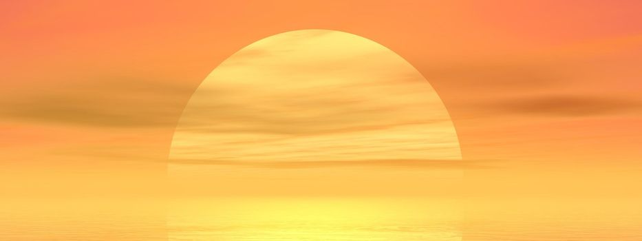 Big yellow sun shining while sunset over the ocean