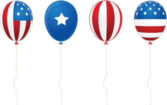 illustrated image of balloons with stars and stripes