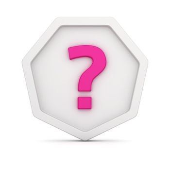 White badge with question mark on it
