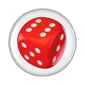Gambling dice into the soap bubble isolated
