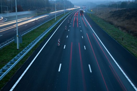 motorway A28 at dusk