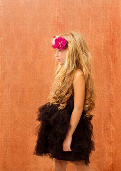 black dress kid girl profile on vintage background