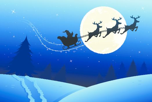 santas sleigh travelling to deliver his presents on christmas