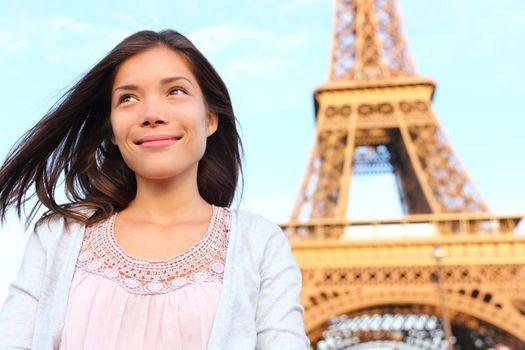 Eiffel tower Paris tourist woman