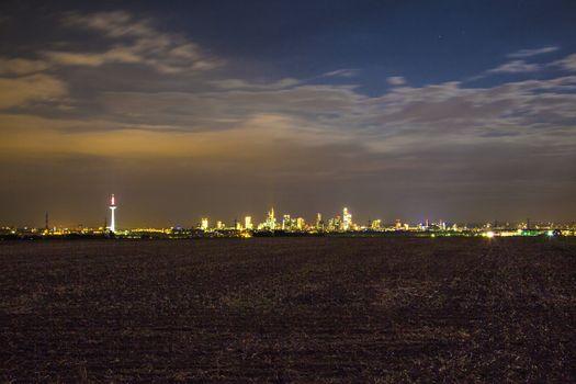 illuminated cityscape of  Frankfurt by night