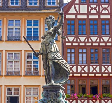 Statue of Lady Justice in front of the Romer in Frankfurt - Germany