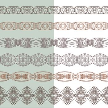 Set of borders with ornamental pattern. Collection of seamless ornamental floral stripes. Interesting solutions for your design
