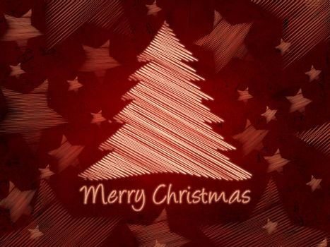 Merry Christmas retro red background with christmas tree and sta