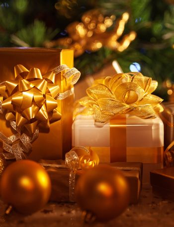 Golden gift boxes