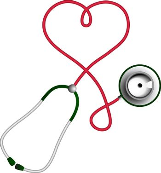 Heart shape stethoscope. Cardiology concept.
