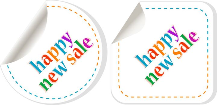 stickers happy new sale set. Symbol of new year