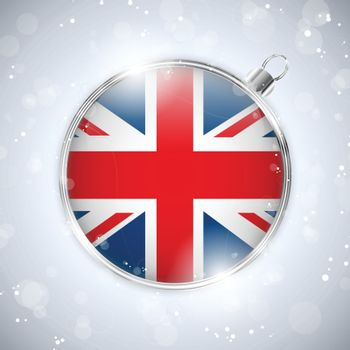 Vector - Merry Christmas Silver Ball with Flag United Kingdom UK
