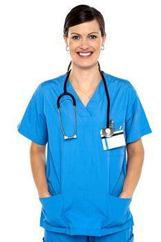 Female doctor with stethoscope around her neck
