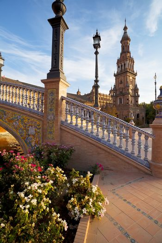 sunny Plaza de Espana in Seville