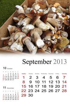 2013 Calendar. September. Golden autumn colors
