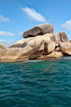 Rocks in the azure sea