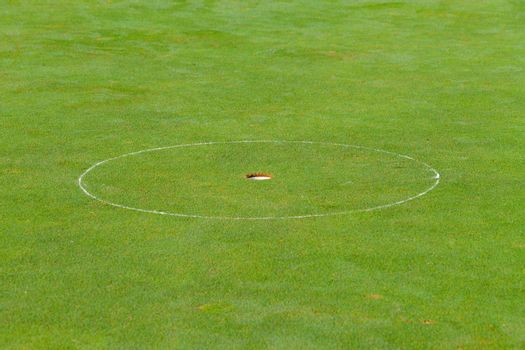 Golf hole with the green grass