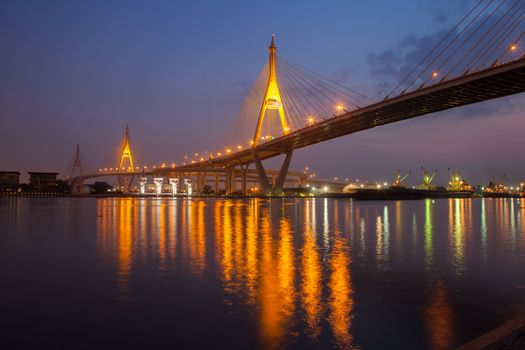 Bridge industry. Bangkok at night.