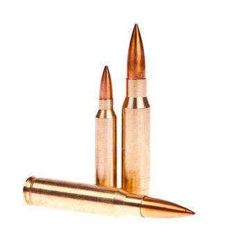 Golden bullet isolated on white background