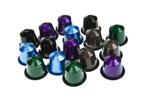 modern colorful coffee capsules for a coffee machine isolated on