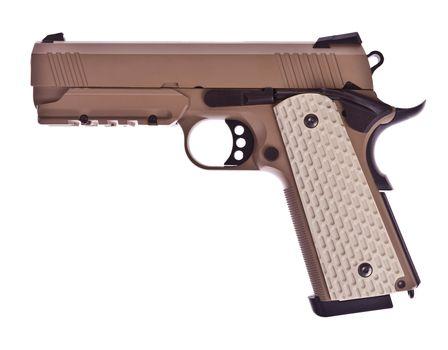 Classic handgun isolated on white background