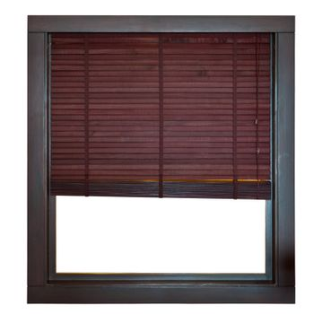 Wooden window frame with bamboo blind