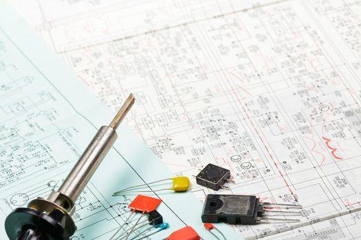 Electronics components on a scheme