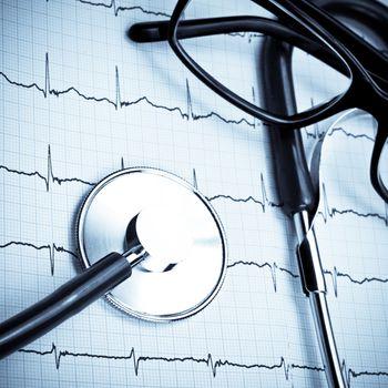 Stethoscope on EKG