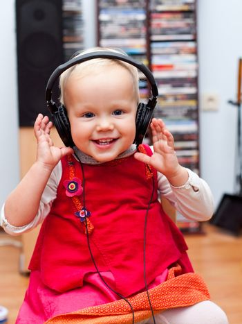 Toddler with headphones