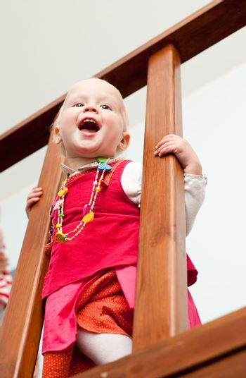 Toddler on staircase