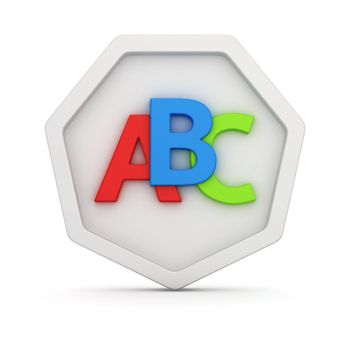 Capital letters A, B, C on the white badge