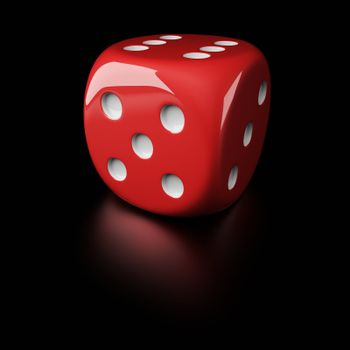6-sided die with pips on the black background