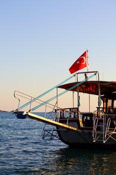 Cruise ship on sunset in Turkey