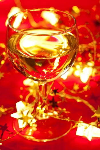 Wineglass with Christmas decoration