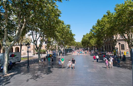 Pedestrian street in Barcelona Spain