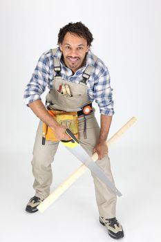 Carpenter sawing lath