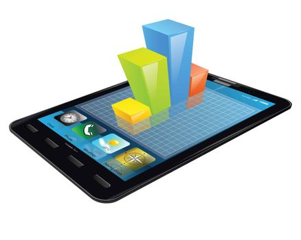 Tablet with 3d bar graph