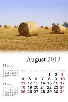 2013 Calendar. August