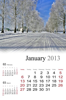 2013 Calendar. January