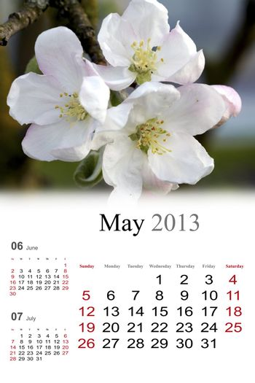 2013 Calendar. May.
