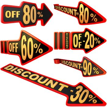 set of arrow shaped labels / stickers for sales with big variety of discounts