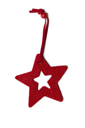 Red five pointed star christmas decoration for haging on tree