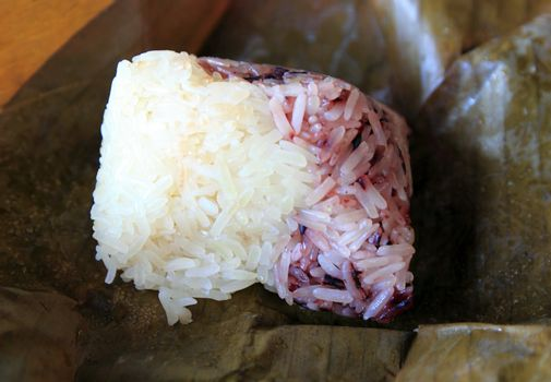 glutinous rice wrapped in banana leaves