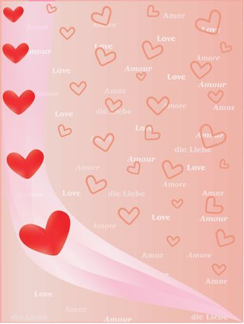 background with valentines and word Love in several languages