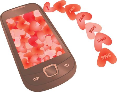 SMS and MMS valentines flying to mobile phone