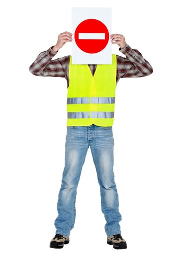Worker with a No Entry sign