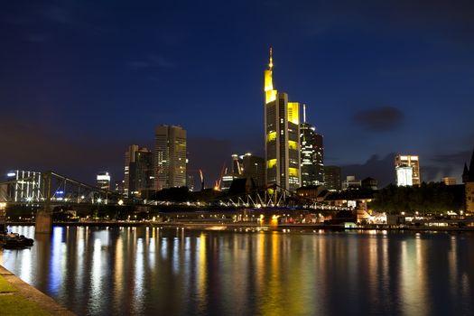 colorful Frankfurt am Main at night