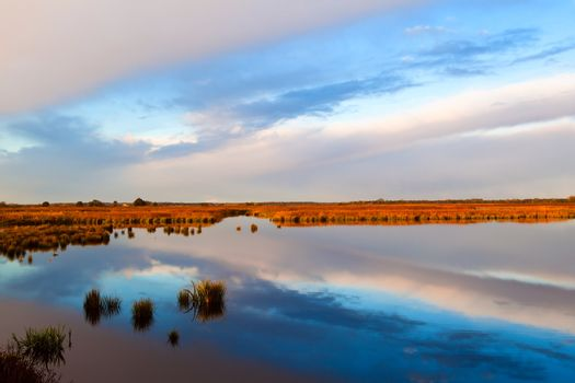 sky reflections on lake